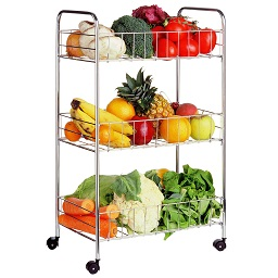 Prime Furnishing 3-Tier Storage Cart - Silver