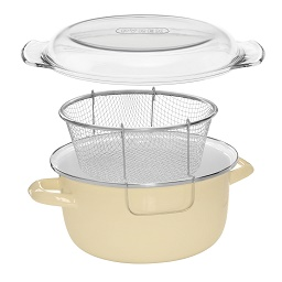 Prime Furnishing 5 Ltr Deep Fryer with Pyrex Lid - Cream