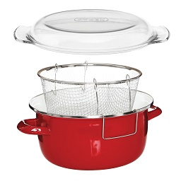 Prime Furnishing 5 L Deep Fryer with Pyrex Lid - Red