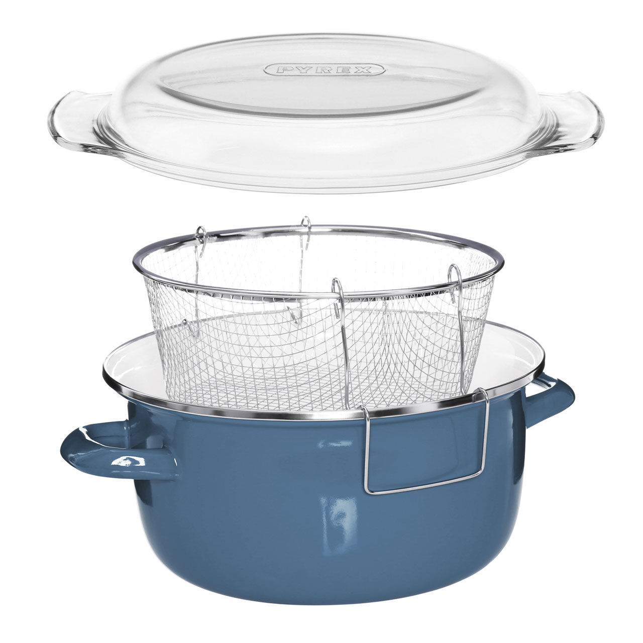 Prime Furnishing Deep Fryer With Glass Pyrex Lid - Blue