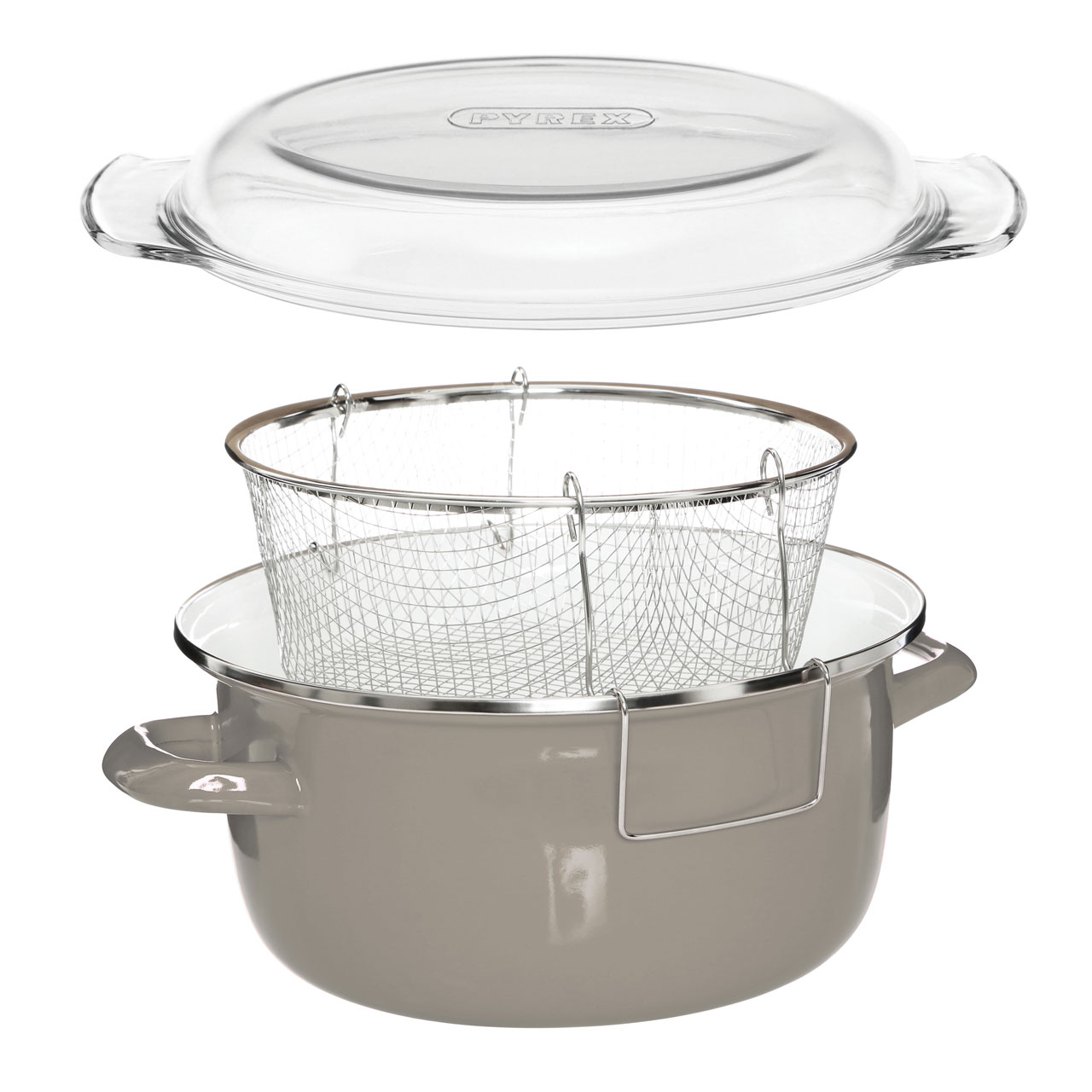Prime Furnishing Deep Fryer With Glass Pyrex Lid - Grey