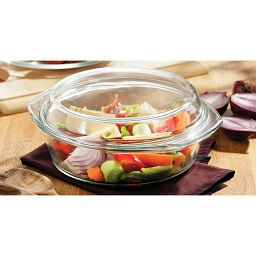 Prime Furnishing 2Ltr Casserole Dish, Tempered Glass with Lid