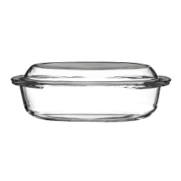 Prime Furnishing Casserole Dish Tempered Glass with Lid 1.5Ltr