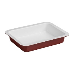 Ecocook Ceramic Coated Aluminium Roasting Dish in Red/White