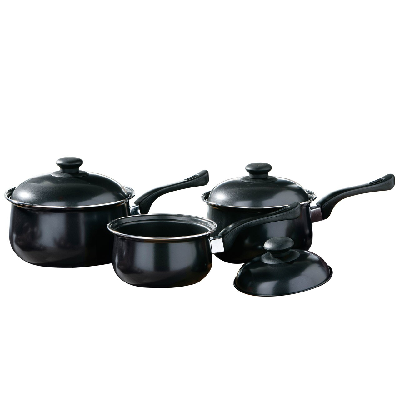 3pc Black Belly Pan Set, Non-Stick Carbon Steel, Bakelite Handle