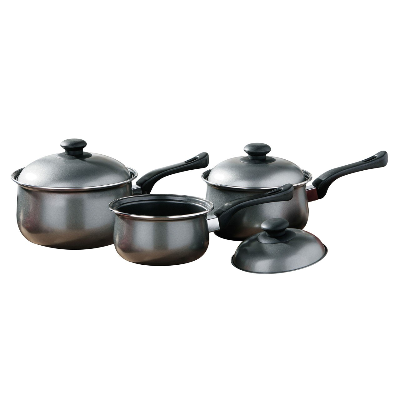 3pc Silver Belly Pan Set Non-Stick Carbon Steel Bakelite Handle