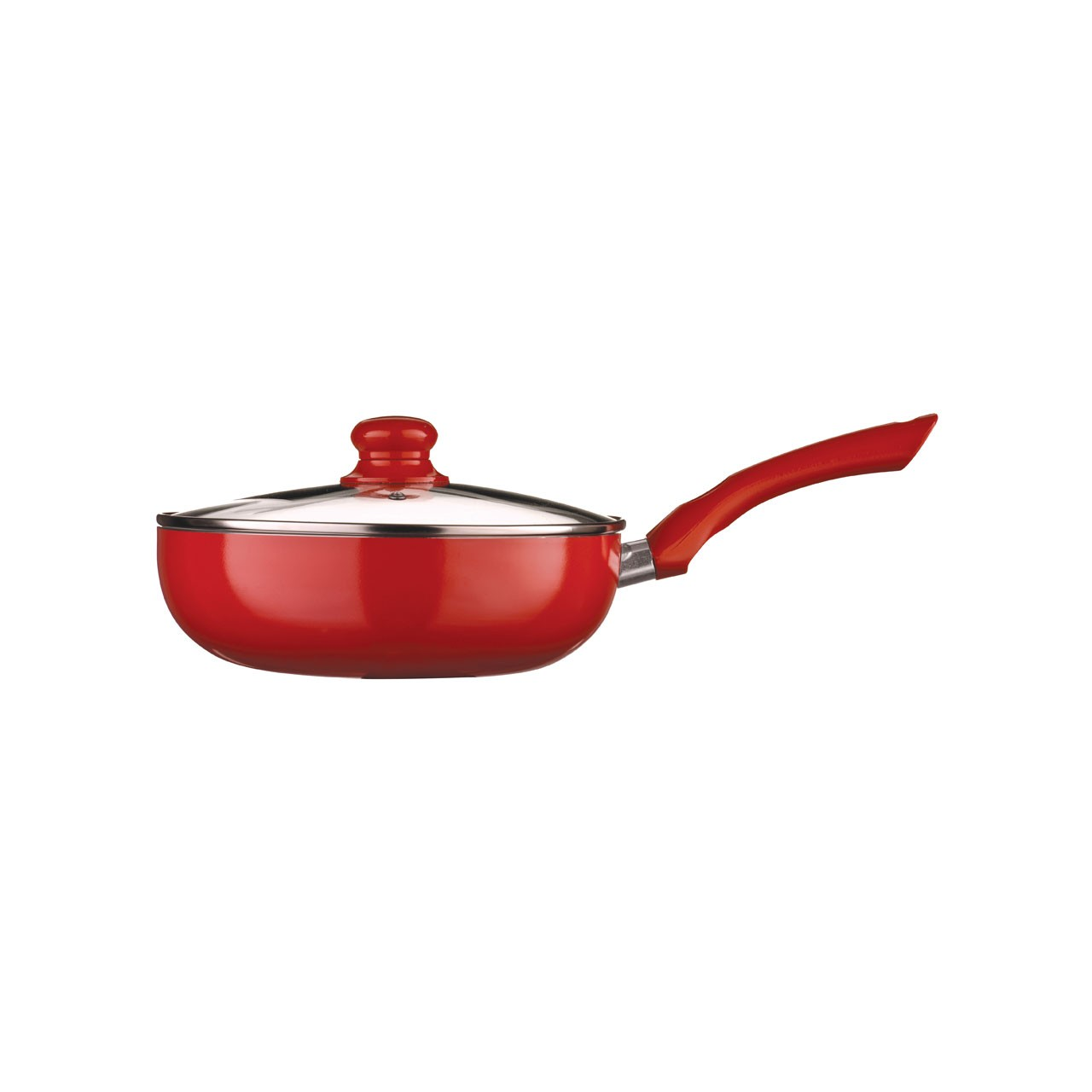 Ecocook Frying Pan with Glass Lid - 24 cm, Red
