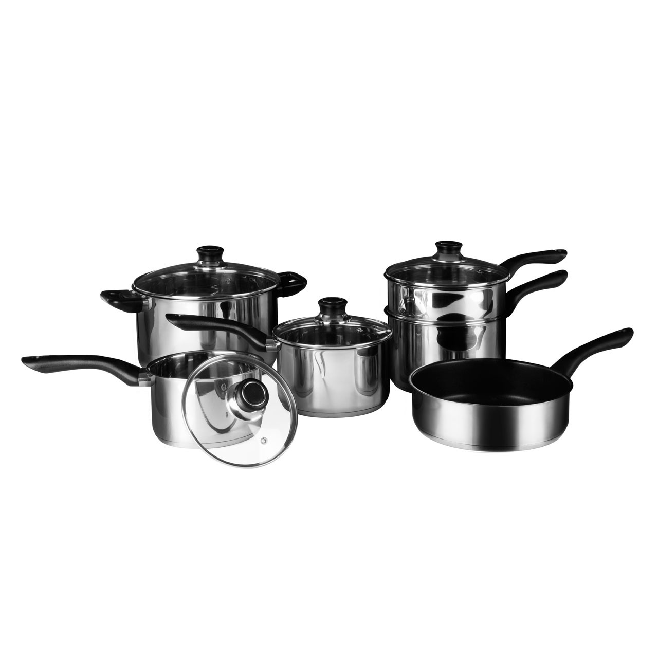6pc Cookware Set Stainless Steel Bakelite Handles