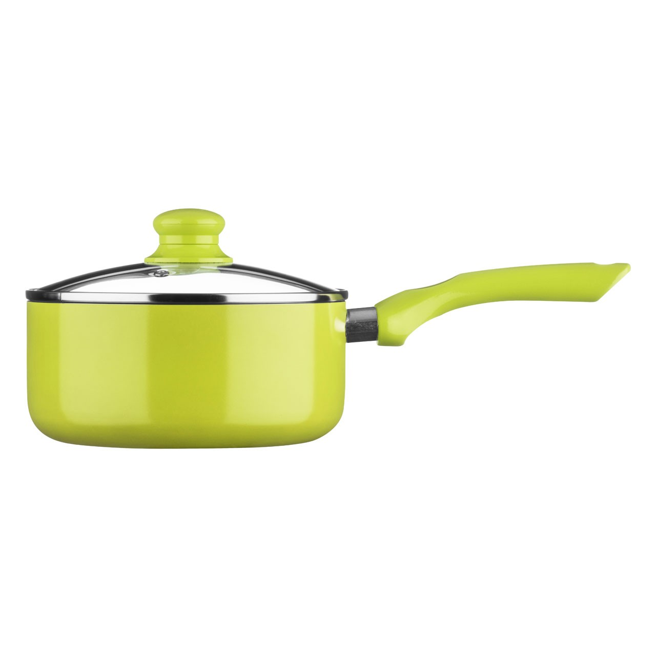Ecocook Saucepan with Glass Lid, 20 cm - Lime Green