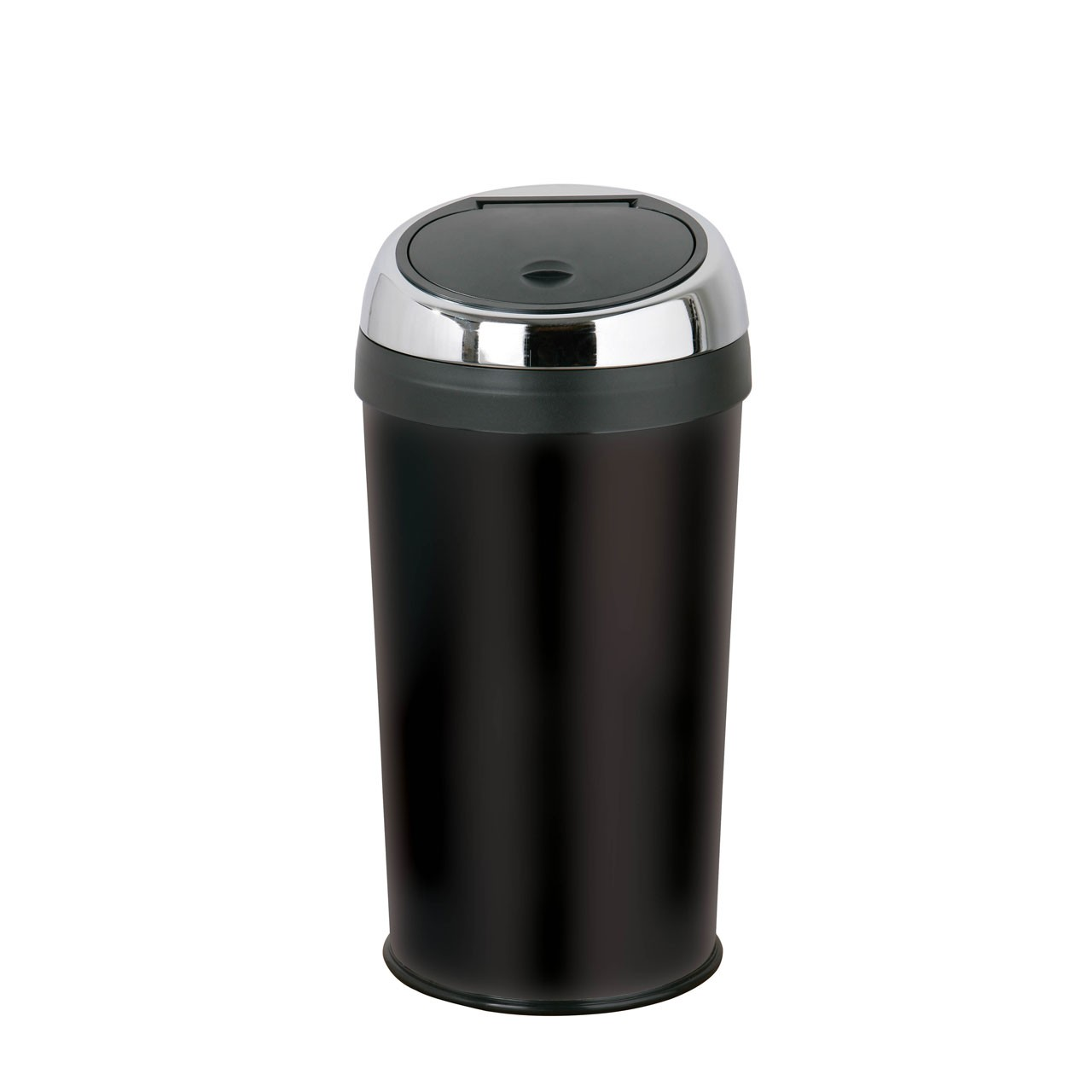 Set Of 2 30Ltr Touch Top Bin Black Enamel Made OfStainless Steel
