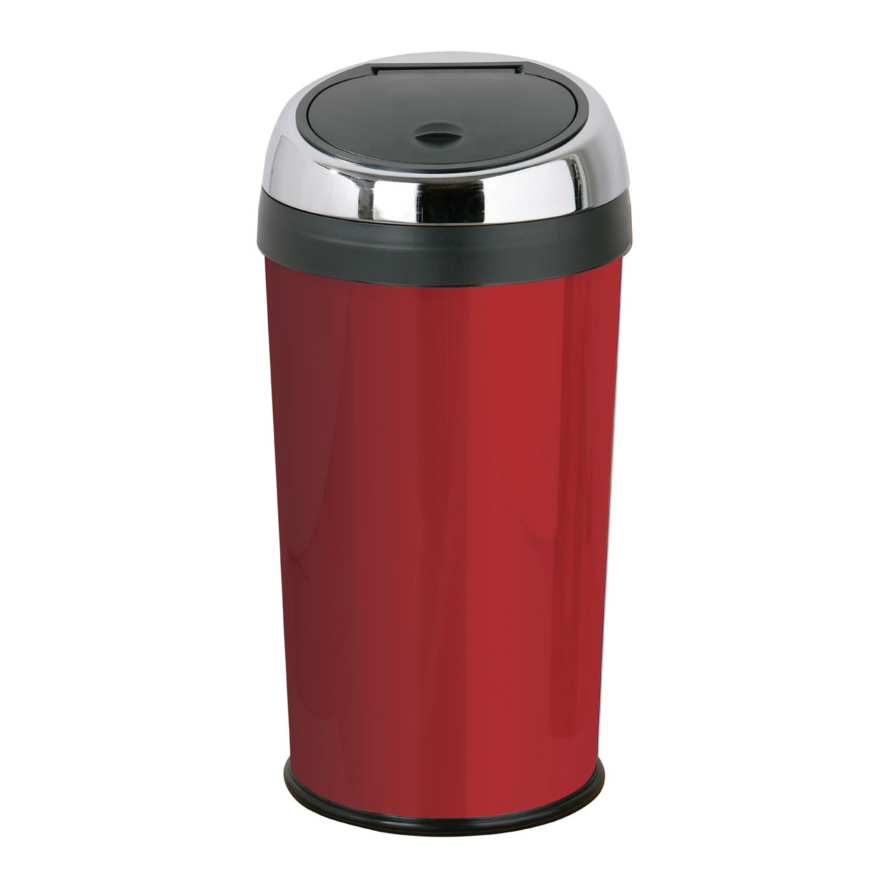Set Of 2 30Ltr Touch Top Bins Red Enamel Made Of Stainless Steel