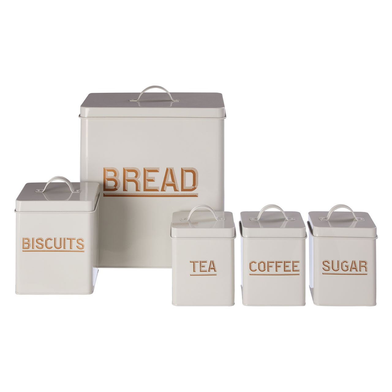 5Pc Grey And Gold Enamel Storage Set
