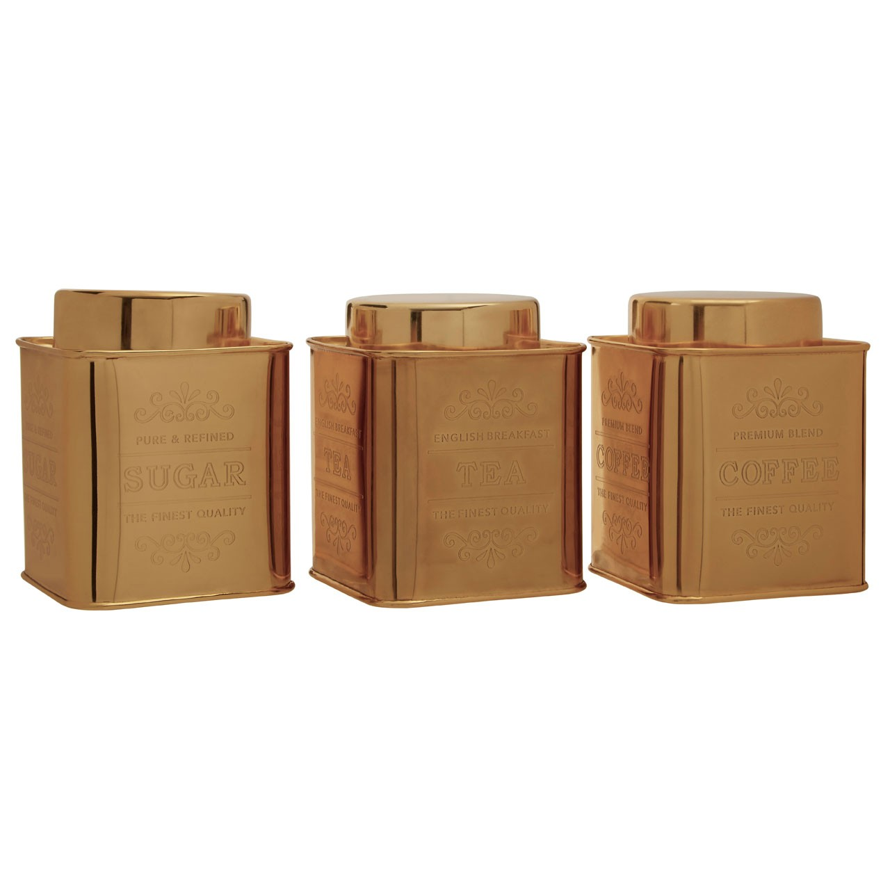 Chai Set Of 3 Gold Finish Storage Canisters