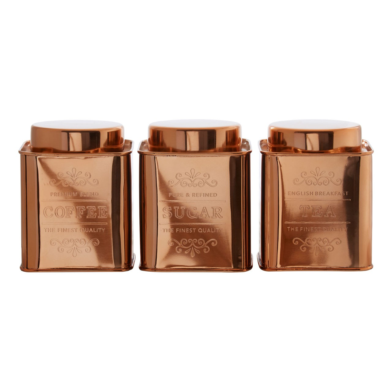 Chai Set Of 3 Copper Finish Storage Canisters