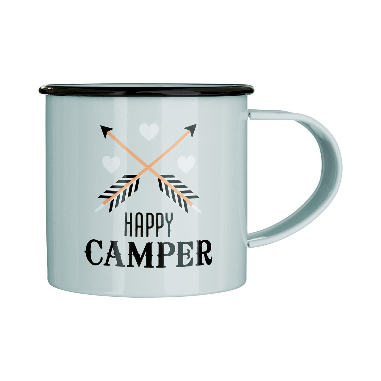 Prime Furnishing Galvanised Steel Happy Camper Mugs - Set Of 6