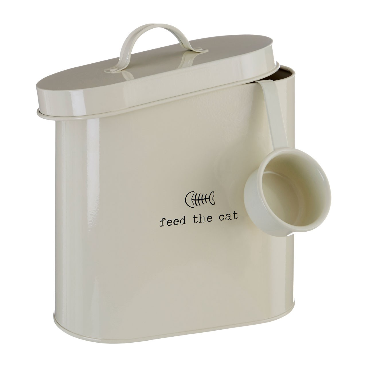 Adore Pets Feed The Cat Food Storage Bin With Spoon Cream