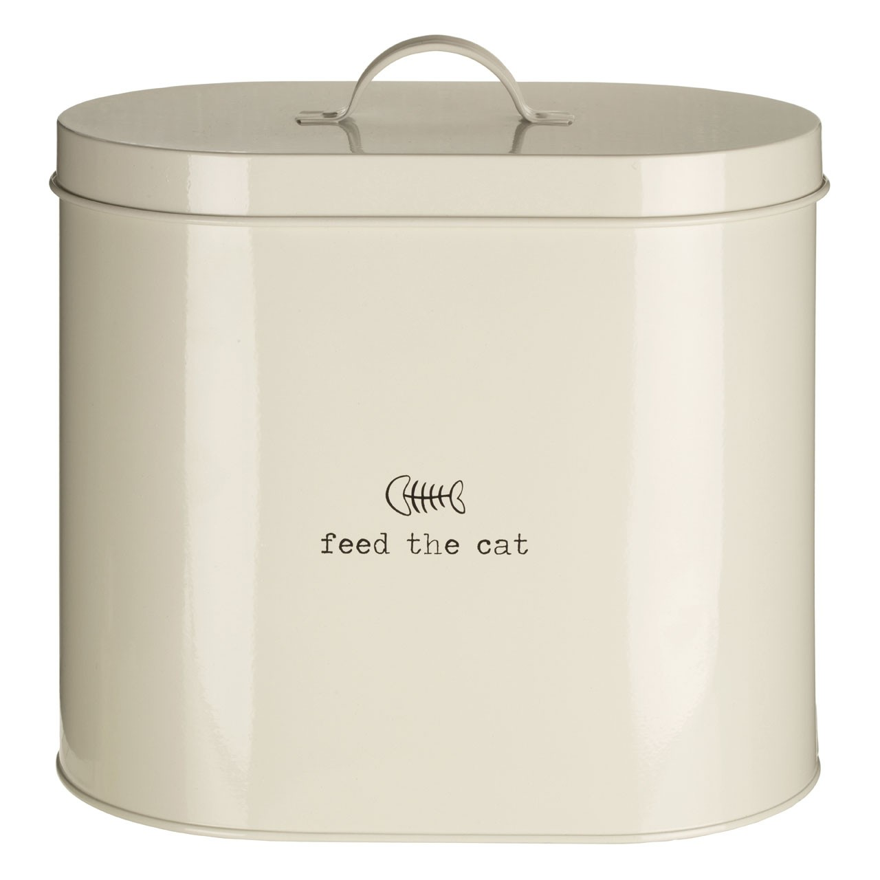 "Adore Pets ""Feed The Cat"" Food Storage Bin with Spoon, Cream"