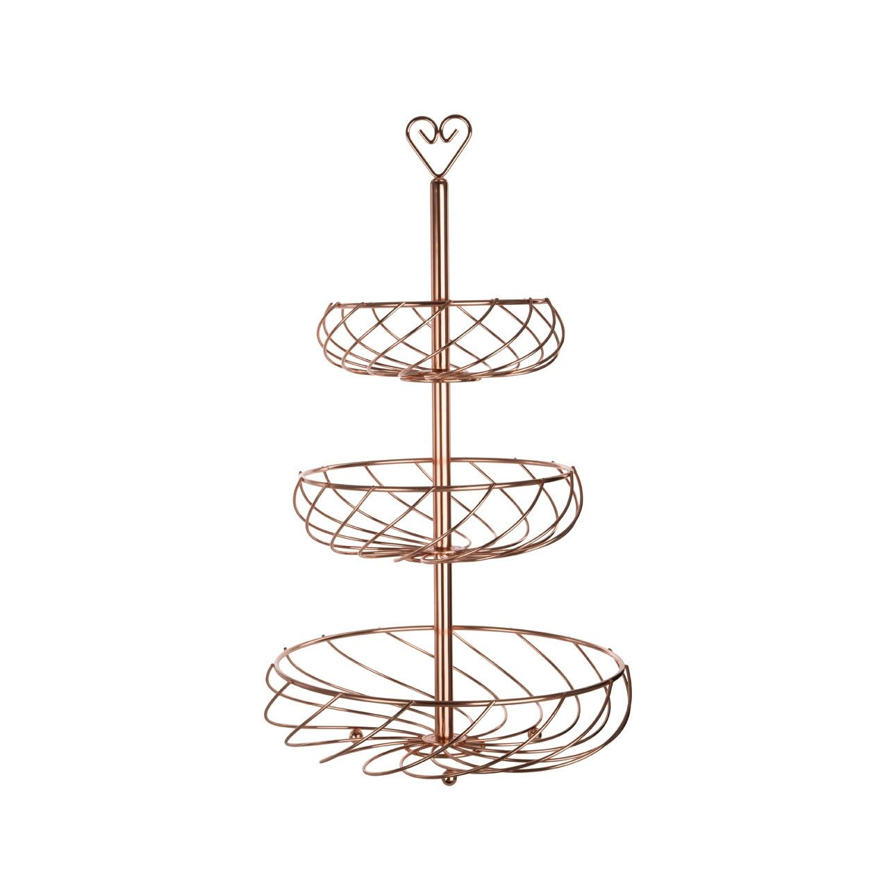 3 Tier Kuper Fruit Basket - Metal Wire - Rose Gold