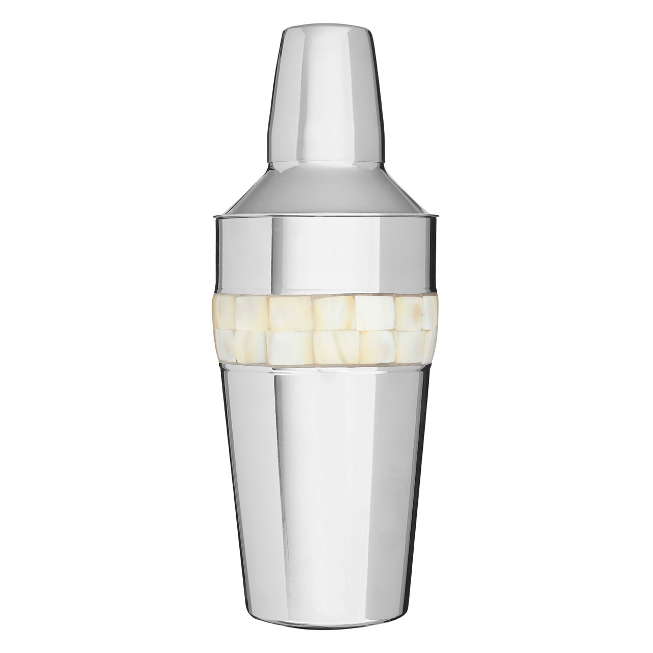 Cocktail Shaker Mother of Pearl Inlay Design Stainless Steel