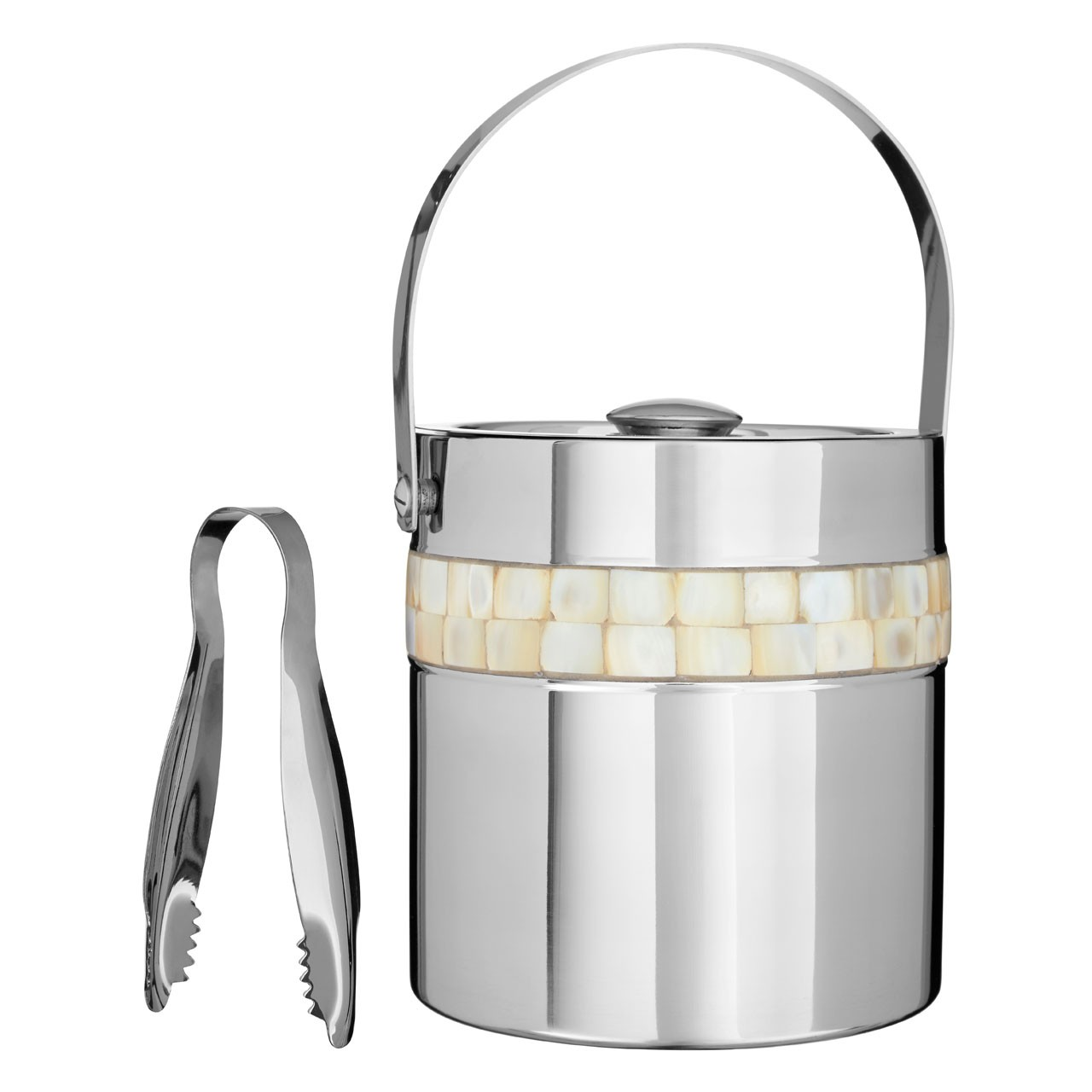 Ice Bucket Mother of Pearl Inlay Design Stainless Steel