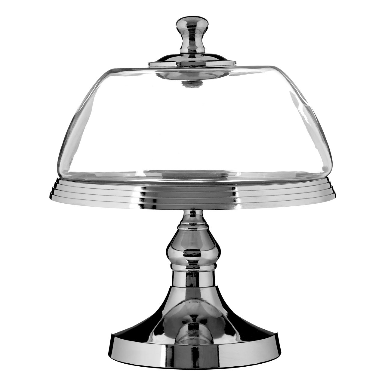Cake Stand Metal Base Glass Dome Silver