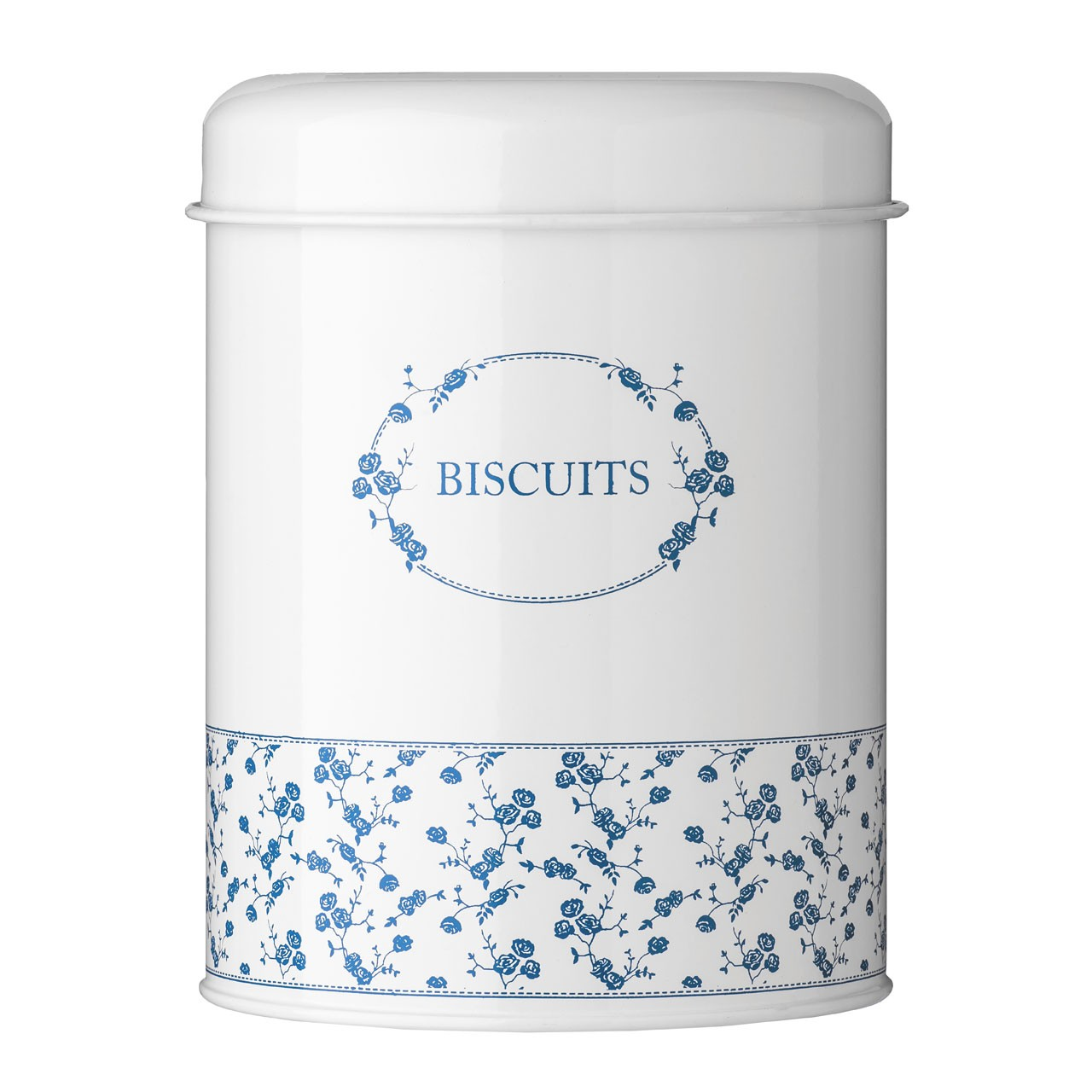 Blue Rose Biscuit Canister - Blue/White