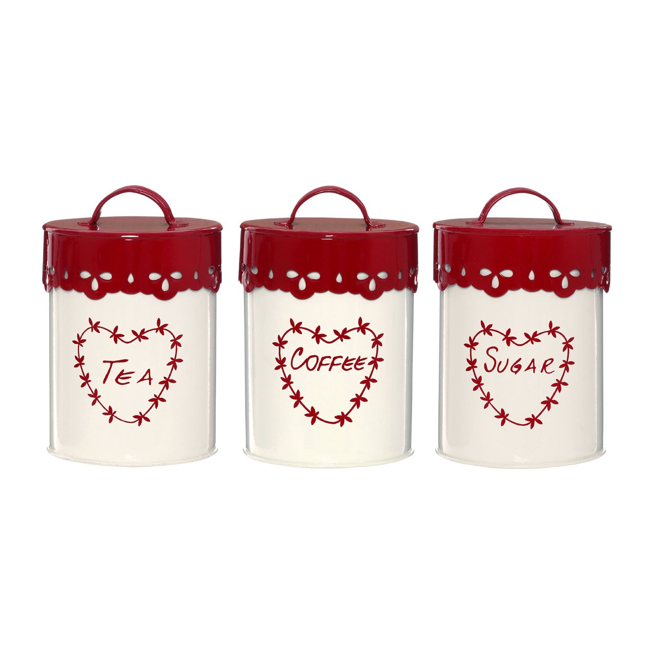 Anglaise Tea/Coffee and Sugar Canisters - Cream/Red, Set of 3