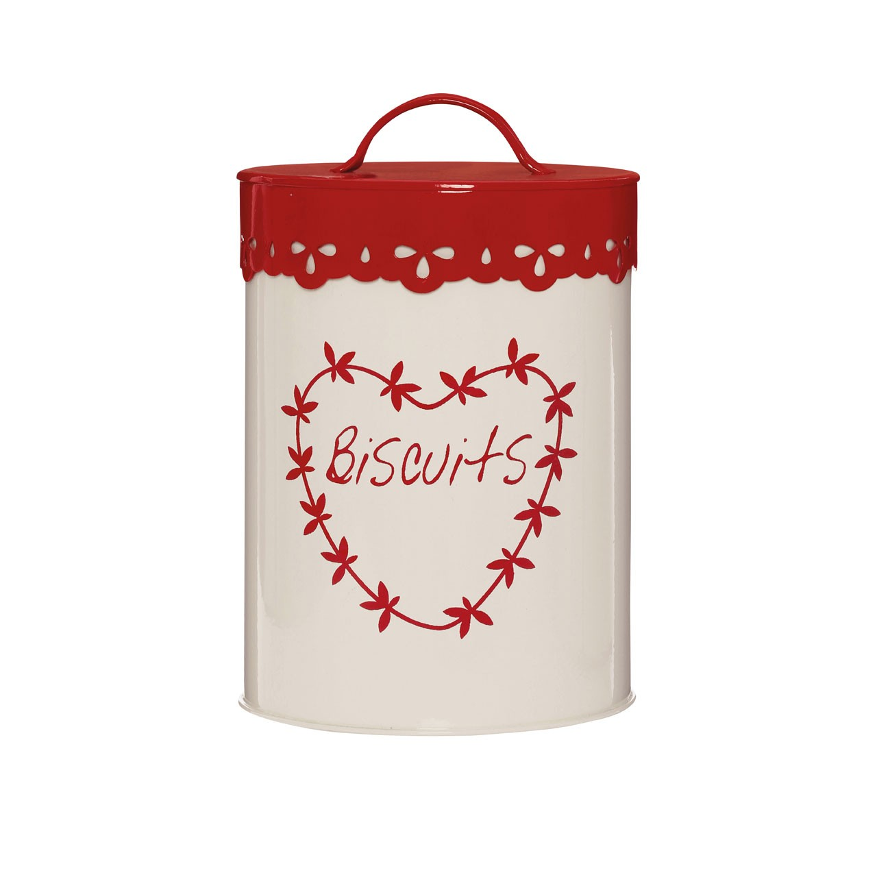 Anglaise Biscuit Canister - Cream/Red
