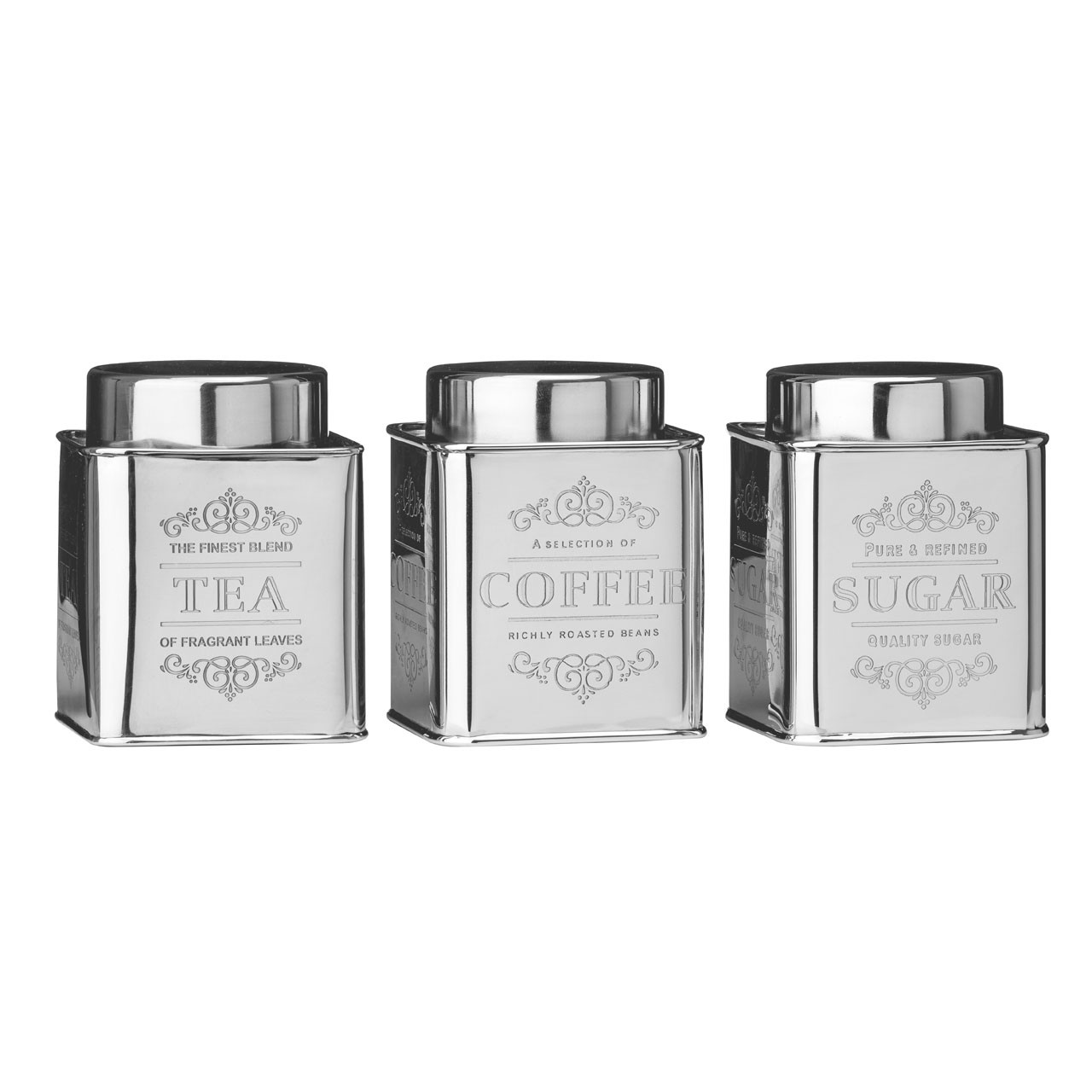 Chai Tea Coffee And Sugar Jars Storage Canisters Set S/ S