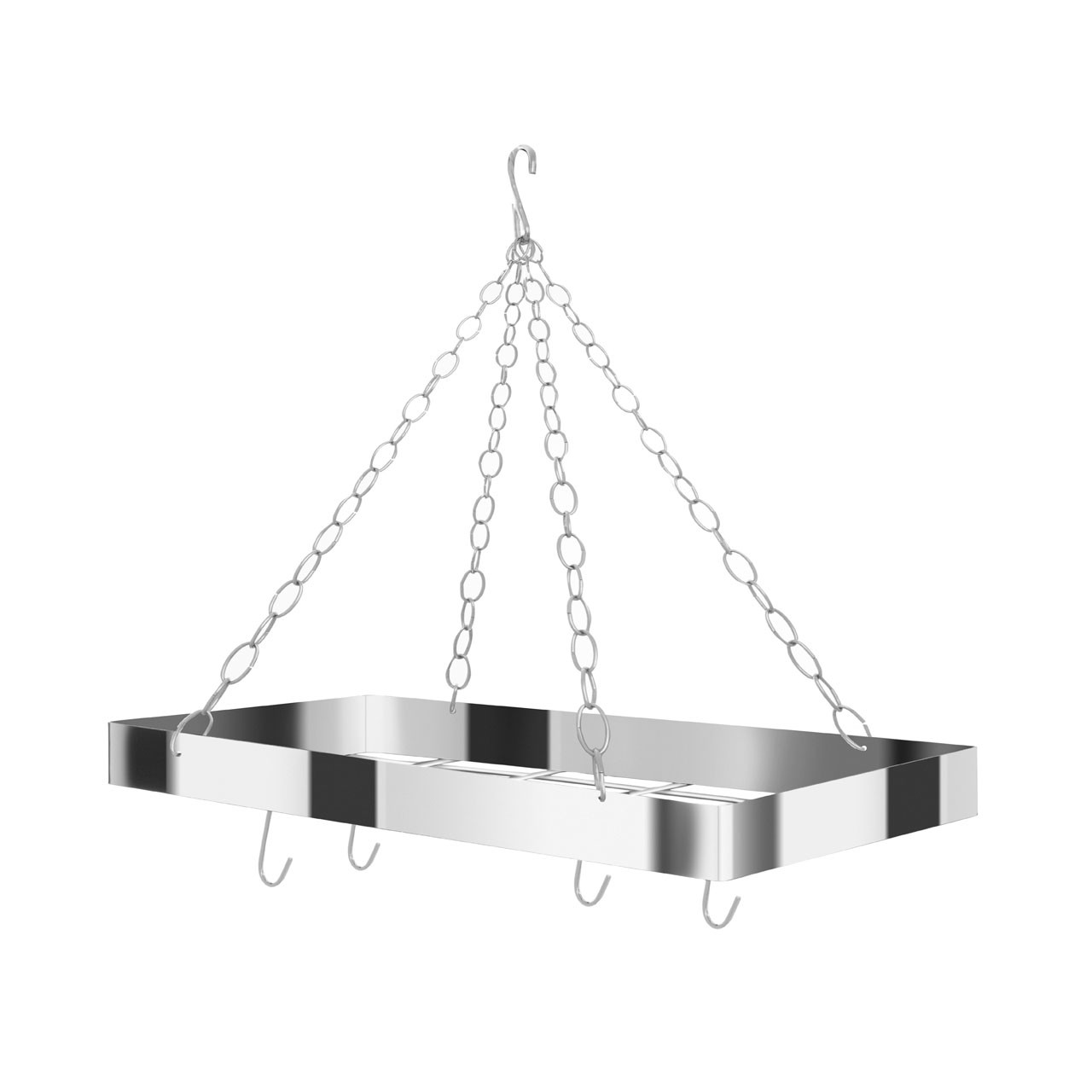 Rectangular Ceiling Rack Metal Matte Chrome