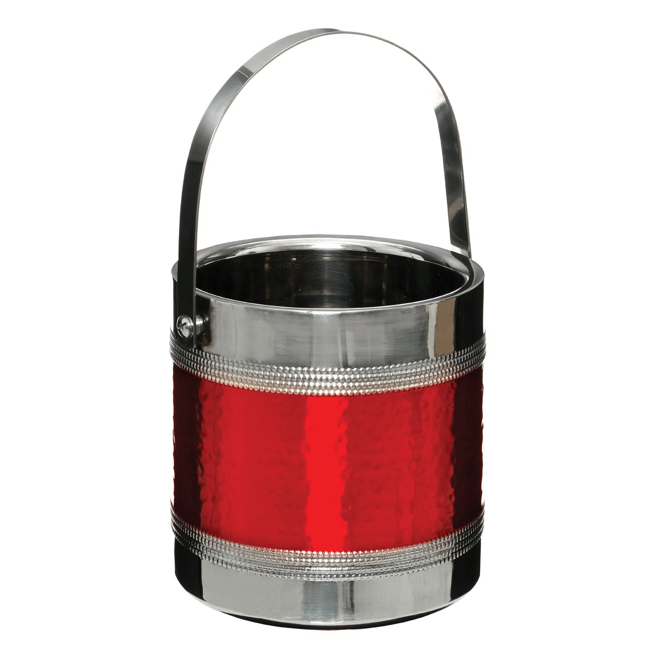 Ice Bucket With Tongs Made of Stainless Steel and Hammered Red B