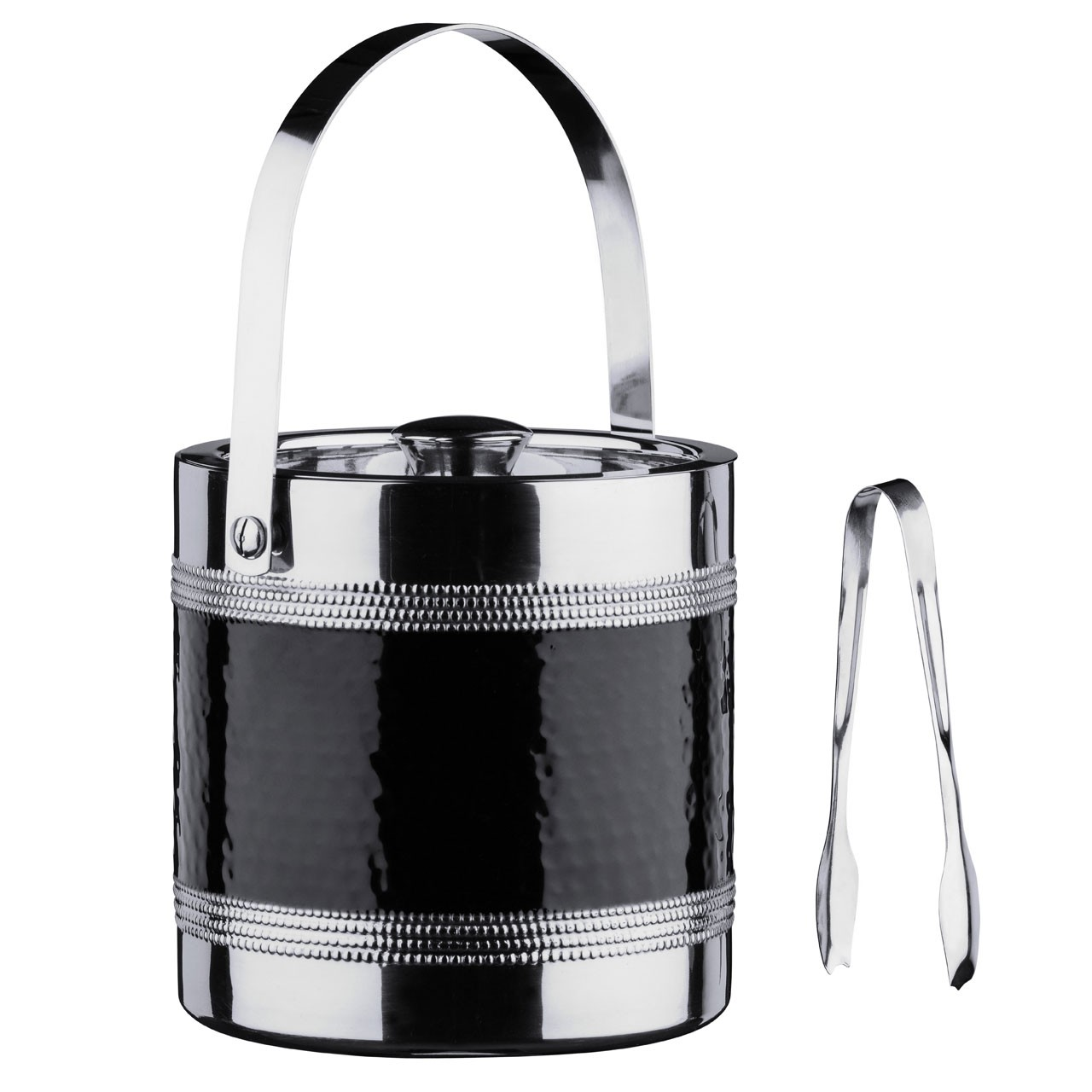 Ice Bucket With Tongs Stainless Steel Hammered Black Band