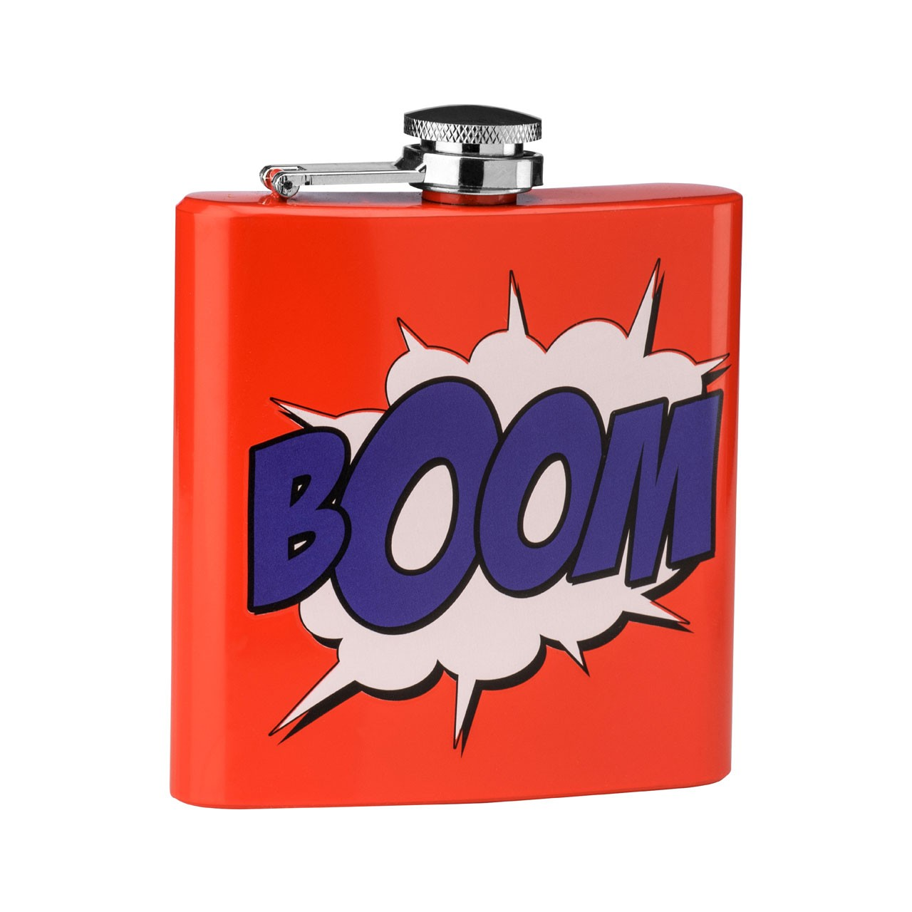 6 oz Boom Design Hip Flask, Red