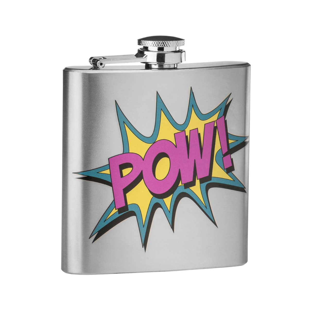 6 oz Stainless Steel Pow Design Hip Flask