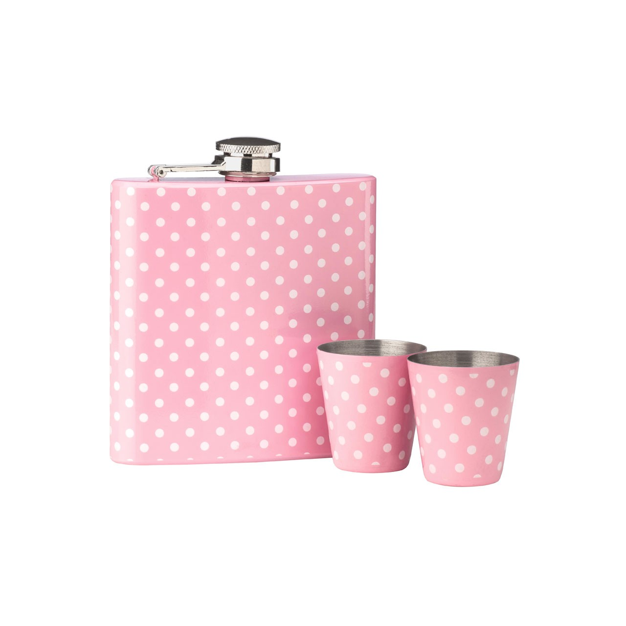 6 oz Polka Dot Design Hip Flask Set, Pink
