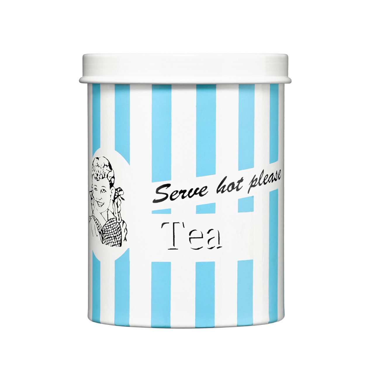 "Tea Canister Blue Candy Stripe ""Serve hot please"""