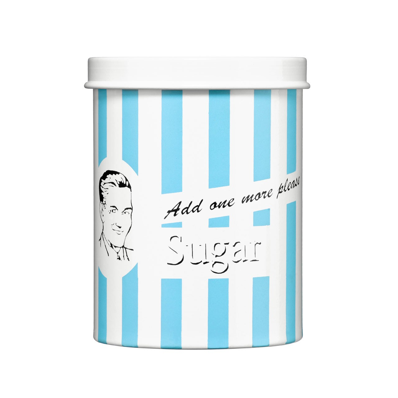 "Sugar Canister Blue Candy Stripe ""Add one more please"""