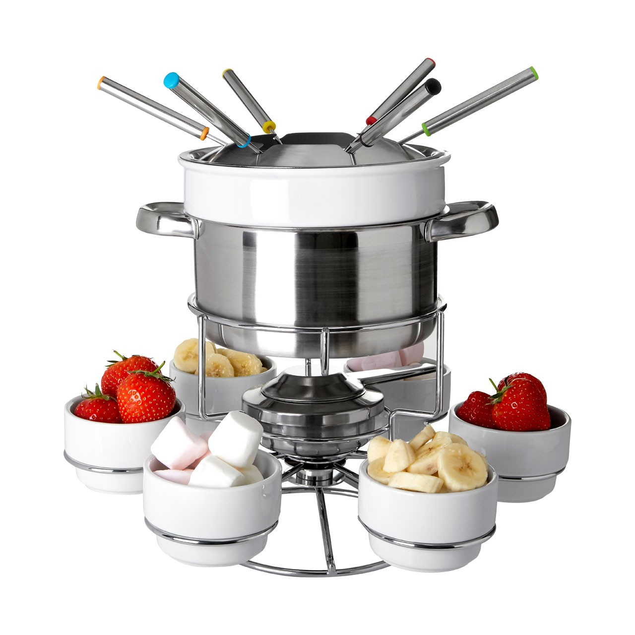 22 Piece Rotating Stainless Steel Fondue Set