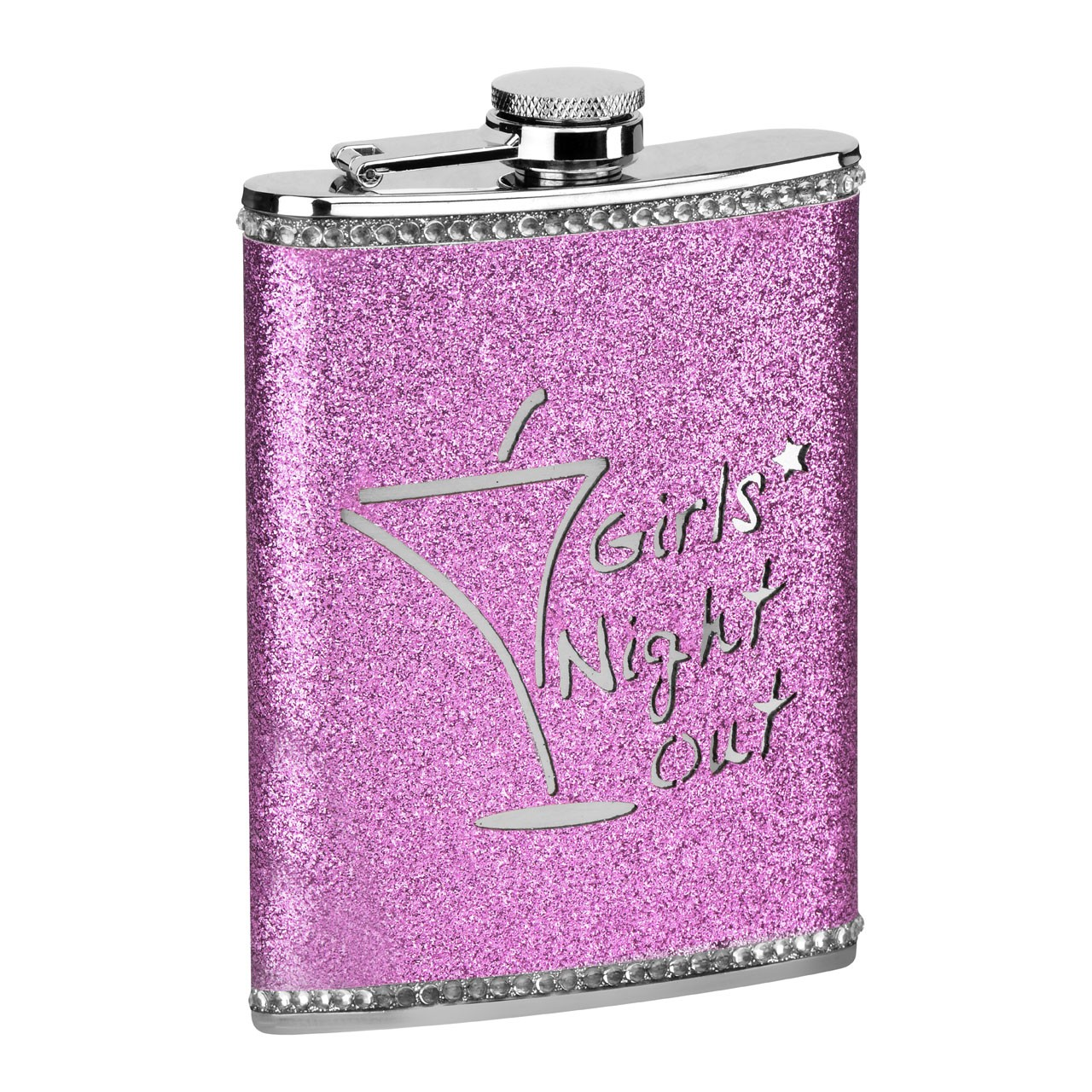 8 oz Girls Night Out Glitter Hip Flask - Hot Pink
