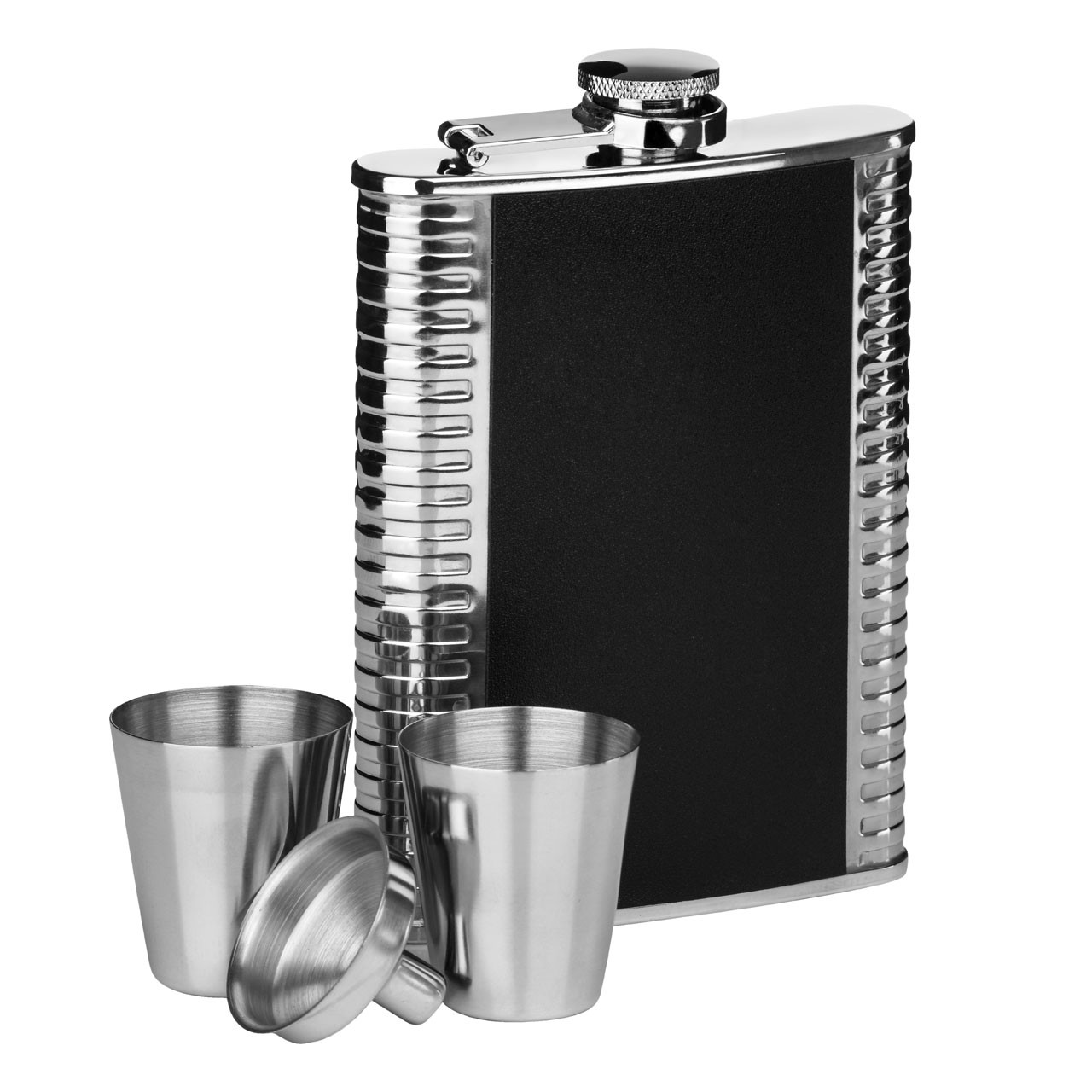 Ribbed Stainless Steel Hip Flask Set, 8 oz - Black