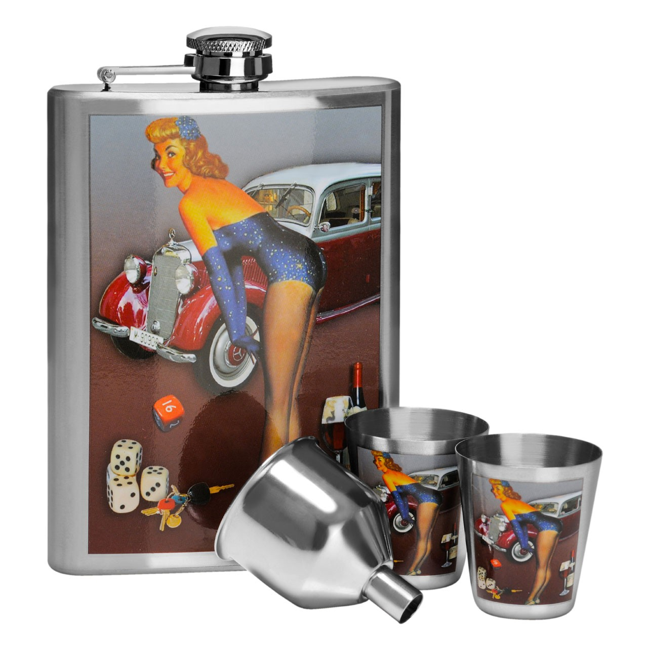 Over The Bonnet Hip Flask - Set of 4