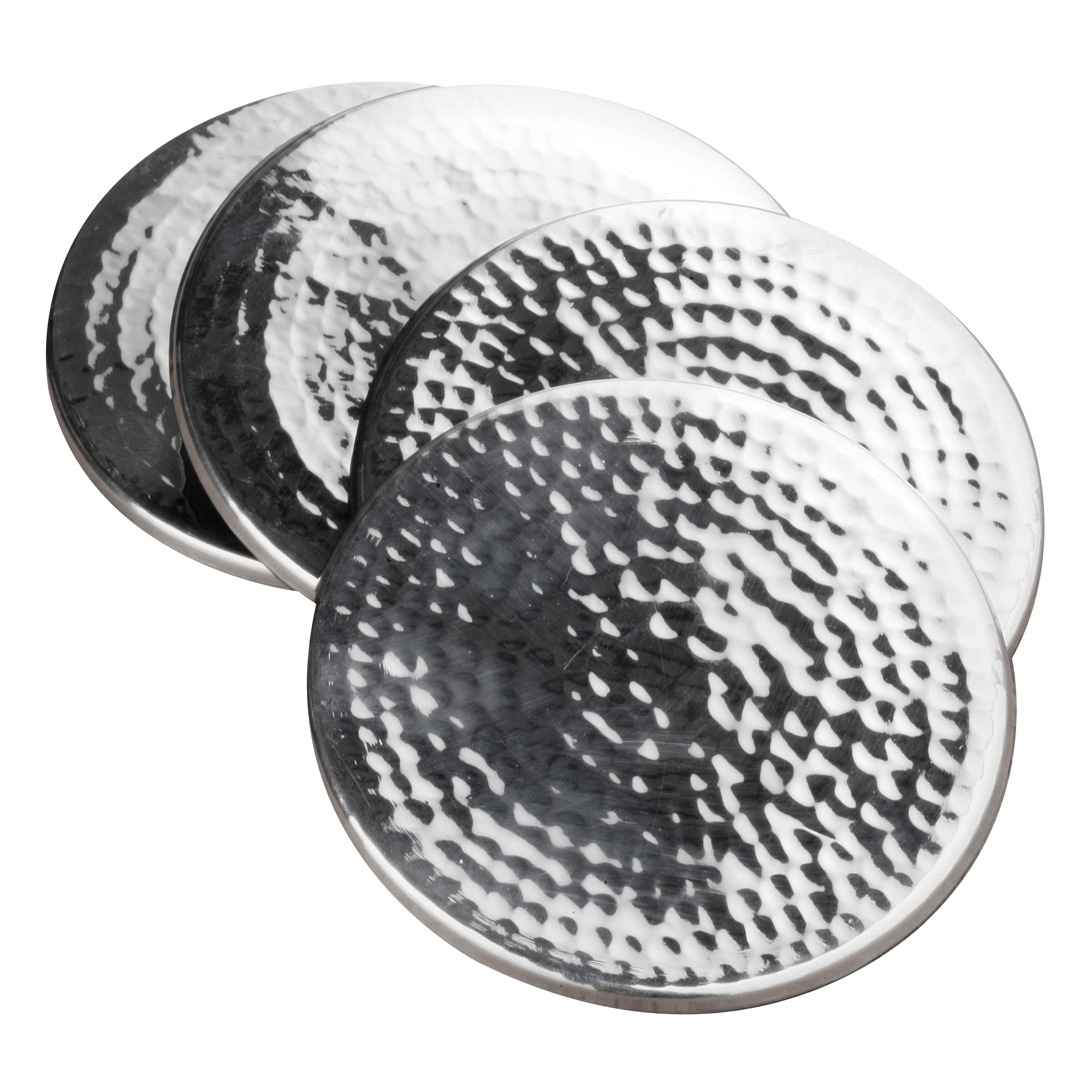 Coasters, Hammered Stainless Steel - Set of 4