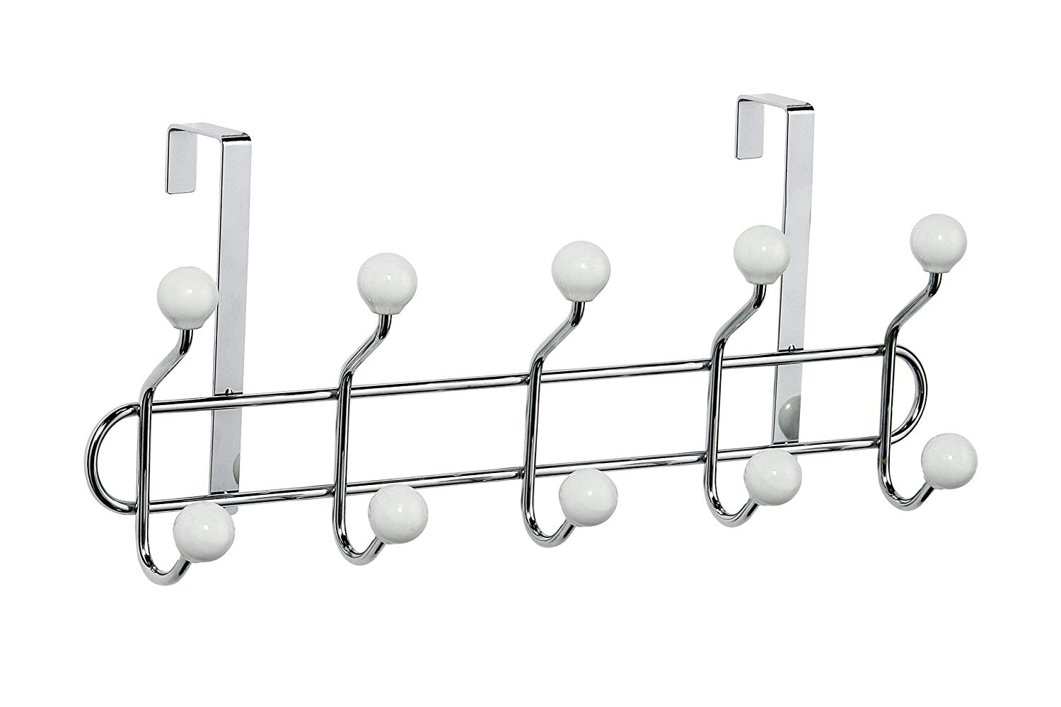 10 Hook Over Door Hanger with White Ceramic Balls, Chrome