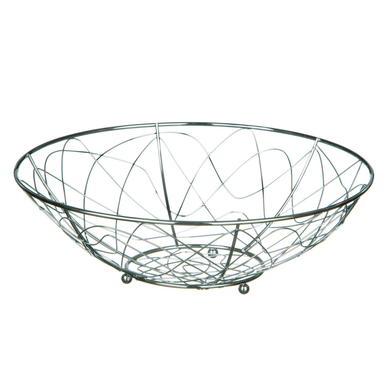 Geo Round Fruit Basket, Chrome