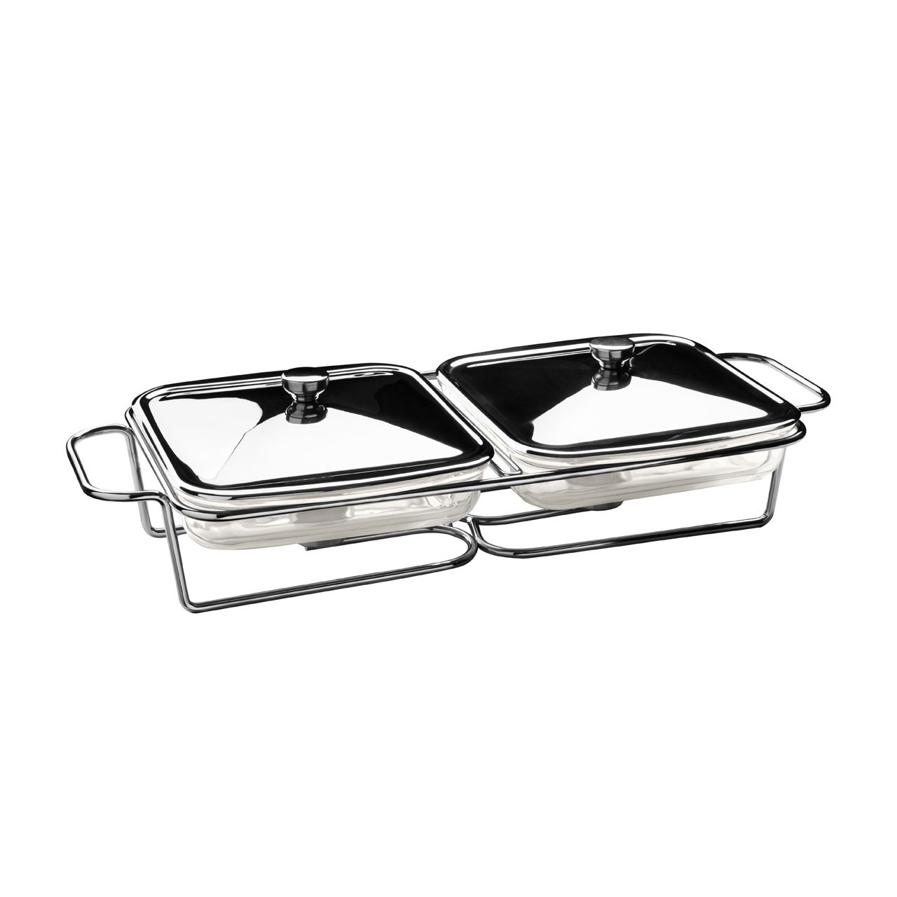1.7l Twin Square Stainless Steel Food Warmer
