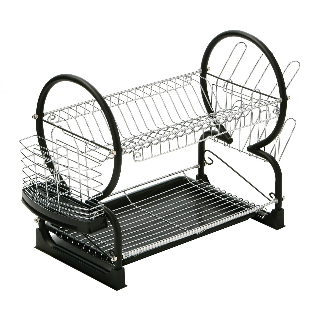 2 Tier Dish Drainer Chrome/Black Enamel Coated Frame