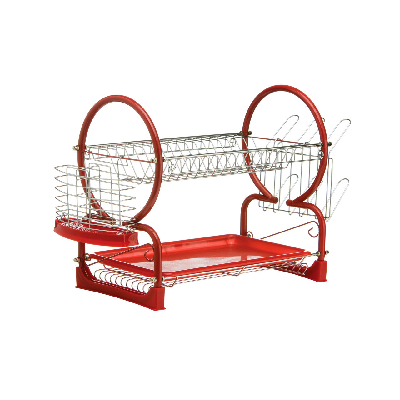 Prime Furnishing 2-Tier Dish Drainer - Red