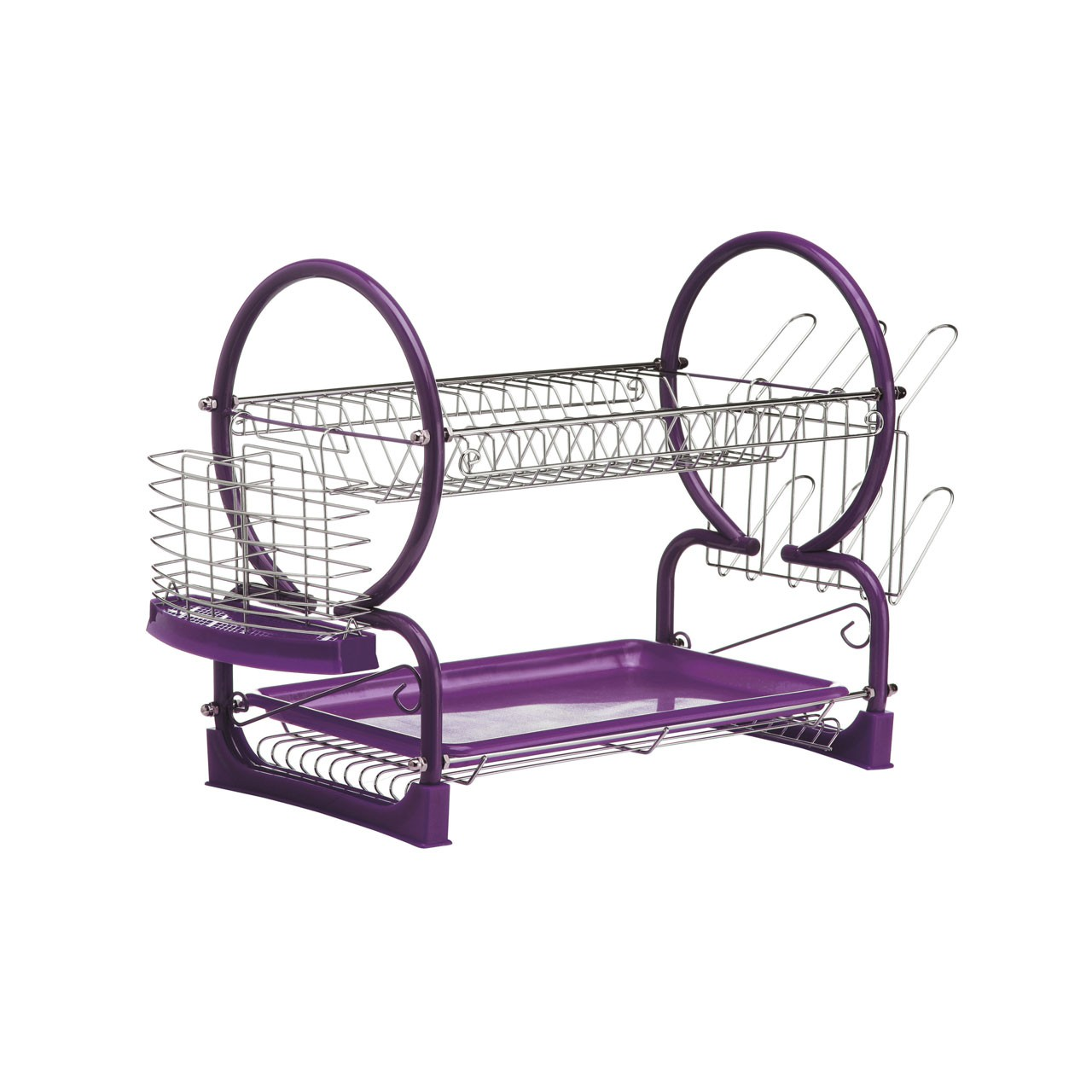 Prime Furnishing 2-Tier Dish Drainer - Purple