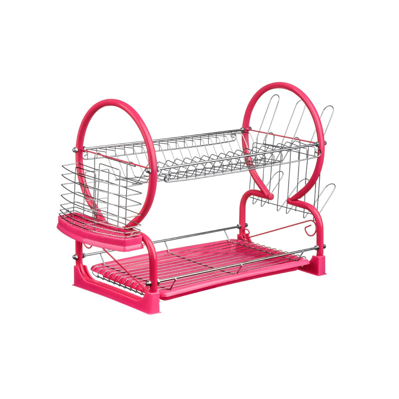 2-Tier Dish Drainer - Hot Pink