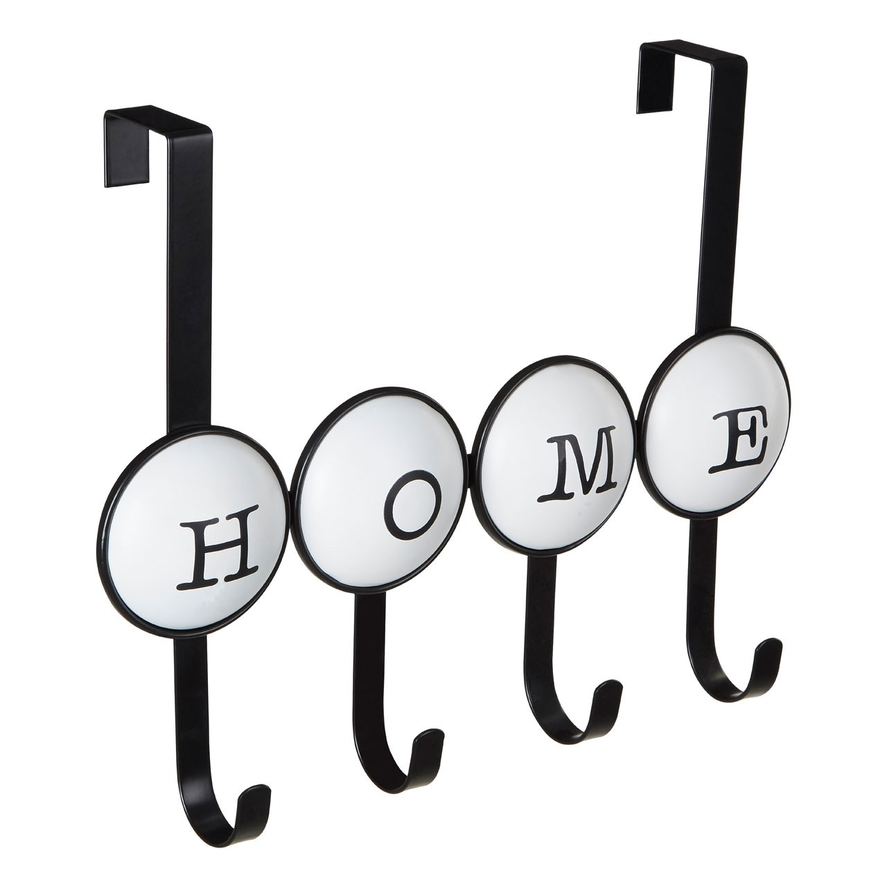 Prime Furnishing 4-Hook Over Door Home Hanger, White/Black